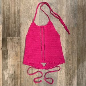 Hot pink crochet halter top